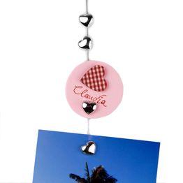 Filo portafoto 'Sweetheart' 1,5 m con asola e peso in acciaio, incl. 8 cuori magnetici