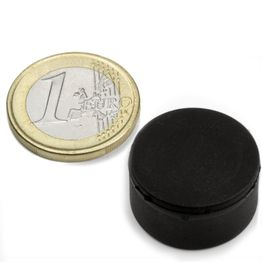 S-20-10-R Schijfmagneet met rubber coating Ø 22 mm, dikte 11,4 mm, houdt ca. 7,1 kg, waterdicht, neodymium, N42