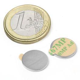 S-13-01-STIC Disco magnetico autoadesivo Ø 13 mm, altezza 1 mm, neodimio, N35, nichelato
