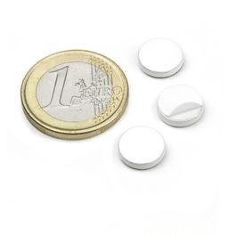 PAS-10-W Disco metálico autoadhesivo blanco Ø 10 mm, como contrapieza para imanes, ¡no es un imán!