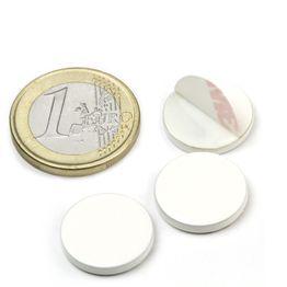 PAS-16-W Disque métallique autocollant blanc Ø 16 mm, contre-pièce pour aimants, non magnétique !