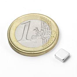 Q-05-05-02-N Quadermagnet 5 x 5 x 2 mm, Neodym, N45, vernickelt