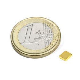 Q-05-04-01-G Block magnet 5 x 4 x 1 mm, neodymium, N50, gold-plated
