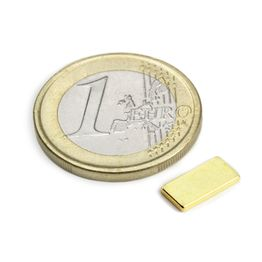 Q-10-05-01-G Parallélépipède magnétique 10 x 5 x 1 mm, néodyme, N50, doré