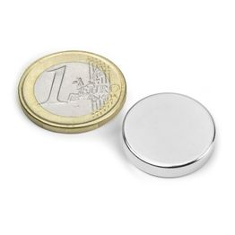 S-20-04-N Disc magnet Ø 20 mm, height 4 mm, neodymium, N42, nickel-plated