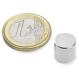 S-10-10-N Disco magnético Ø 10 mm, alto 10 mm, sujeta aprox. 3,9 kg, neodimio, N45, niquelado