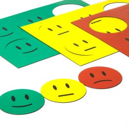Magnet symbols Smiley for whiteboards & planning boards, 6 smileys per A5 sheet, set of 3: green, yellow, red