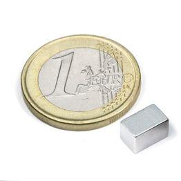 Q-08-05-05-Z Parallélépipède magnétique 8 x 5 x 5 mm, tient env. 1,1 kg, néodyme, N45, zingué