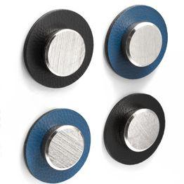 silwy nano-gel-pads métalliques Ø 5,0 cm avec aimant 'Smart' support d'adhérence autoadhésif pour aimants, réutilisable, avec revêtement en similicuir, lot de 2, en différentes couleurs