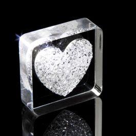 Diamond Heart koelkastmagneet hart, met Swarovski-kristallen
