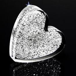 Decorative magnet 'Glitter Heart' made of plexiglass, with Swarovski crystals