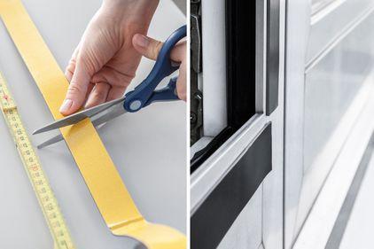 Prise de mesure et fixation de la bande magnétique sur le cadre de la fenêtre
