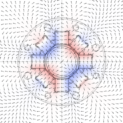 Scalar potential of the magnetic field in the PMQ with magnetic field direction (red: north poles, blue: south poles)