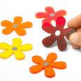 Aimants fleurs aux couleurs estivales, Set de 5 pièces