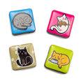 Aimants décoratifs avec des motifs chats, Set de 4 pièces