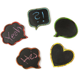 LIV-75, Blackboards mini, write-on fridge magnets, in second-hand look, set of 5