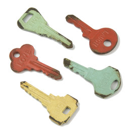 LIV-73, Vintage keys, fridge magnets in second-hand look, set of 5