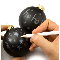 LIV-78, Christmas tree ball ornaments 'Black Magic', with white marker for labelling, set of 2, not magnetic!