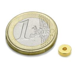 R-06-02-02-G, Aro magnético Ø 6/2 mm, alto 2 mm, neodimio, N45, dorado