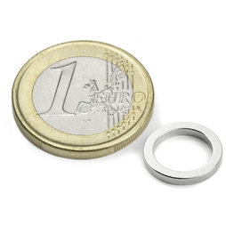 R-12-09-1.5-N, Ring magnet Ø 12/9 mm, height 1,5 mm, neodymium, N45, nickel-plated