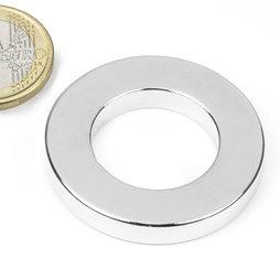 R-40-23-06-N, Aro magnético Ø 40/23 mm, alto 6 mm, neodimio, N42, niquelado