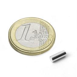 S-03-08-N, Cylindre magnétique Ø 3 mm, hauteur 8 mm, néodyme, N48, nickelé