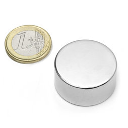 S-30-15-N, Disc magnet Ø 30 mm, height 15 mm, neodymium, N42, nickel-plated