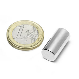 S-10-20-N, Rod magnet Ø 10 mm, height 20 mm, neodymium, N45, nickel-plated