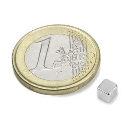 W-04-N, Cube magnet 4 mm, neodymium, N42, nickel-plated