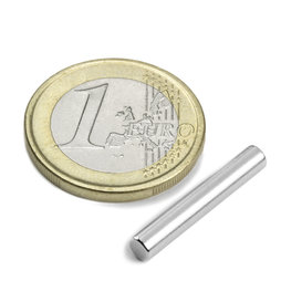 S-04-25-N, Rod magnet Ø 4 mm, height 25 mm, neodymium, N42, nickel-plated