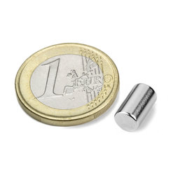 S-06-10-N, Rod magnet Ø 6 mm, height 10 mm, neodymium, N40, nickel-plated