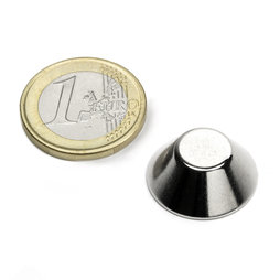 CN-20-10-08-N, Cone magnet Ø 20/10 mm, height 8 mm, neodymium, N38, nickel-plated