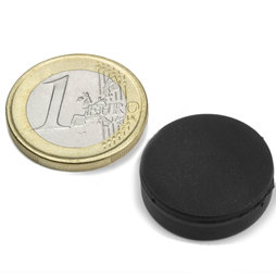 S-20-05-R, Disc magnet Ø 22 mm, height 6,4 mm, neodymium, N42, rubberised