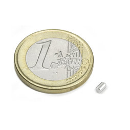 S-02-03-N, Rod magnet Ø 2 mm, height 3 mm, neodymium, N45, nickel-plated