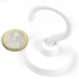 FTNW-40, Crochet magnétique blanc, Ø 40,3 mm, revêtement poudre, pas de vis M6