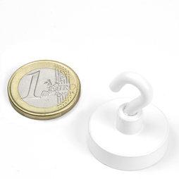 FTNW-25, Gancho magnético blanco Ø 25,3 mm, recubrimiento de polvo, rosca M4