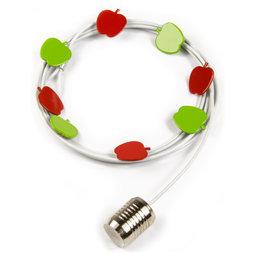 SALE-091, Corde à photos pommes 1${dec}5 m, Avec boucle et poids en acier, 8 aimants en forme de pomme incl., corde à photos blanche