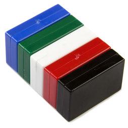 M-BLOCK-01/mixed1, Parallélépipèdes magnétiques avec enrobage en matière synthétique, lot de 5 pcs., couleurs assorties