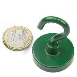 FTNG-32, Hook magnet green Ø 32,3 mm, powder-coated, thread M5