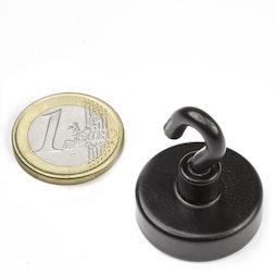 FTNB-25, Crochet magnétique noir Ø 25,3 mm, revêtement poudre, pas de vis M4