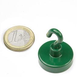 FTNG-25, Magnete con gancio verde Ø 25,3 mm, verniciato a polvere, filettatura M4
