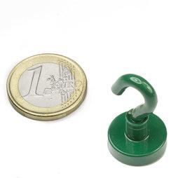 FTNG-16, Crochet magnétique vert Ø 16,3 mm, revêtement poudre, pas de vis M4