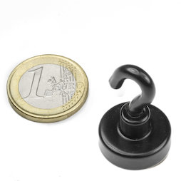 FTNB-20, Hook magnet black Ø 20,3 mm, powder-coated, thread M4