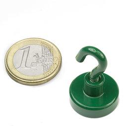 FTNG-20, Crochet magnétique vert, Ø 20,3 mm, revêtement poudre, pas de vis M4