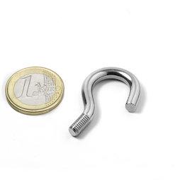 STH-14, screw hook 14 mm inner diameter, steel, nickel-coated, thread M5