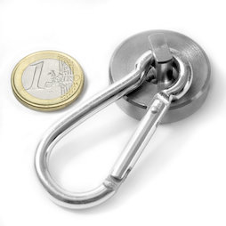 KTN-32, Pot magnet with carabiner, Ø 32 mm, Length of carabiner 60 mm