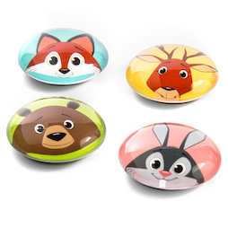 LIV-105, Funimals, button magnets with funny animal faces, set of 4