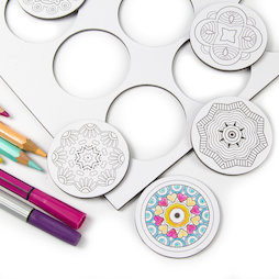 LIV-108, Mandala, colour-me fridge magnets, round, set of 9