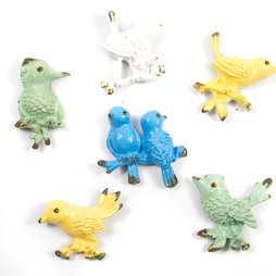SALE-103, Ornament Birds, Kühlschrankmagnete in Gebraucht-Optik, 6er-Set