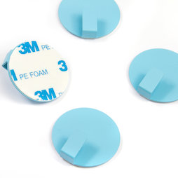 SALE-115, Metal hooks self-adhesive, round, blue, set of 4, not magnets!